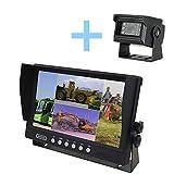 YATEK Set de cámara Marcha atrás y Monitor AHD 9' + cámara 1080P para Aparcamiento visión Trasera