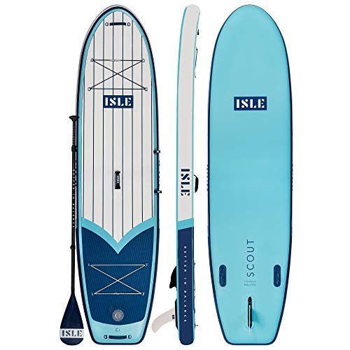 """ISLE 11' Scout - Inflatable Stand Up Paddle Board - 6"""" Thick iSUP and Bundle Accessory Pack - Durable and Lightweight - 33"""" Stable Wide Stance - Up to 315 lbs Capacity (Blue, 11')"""