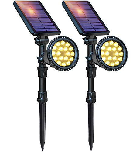 DBF Solar Lights Outdoor, Upgraded 18 LED Waterproof Solar Spotlights Solar Landscape Lights Adjustable Auto On/Off Wall Security Lighting for Garden Yard Pathway Driveway Pool, Pack of 2 (Warm White)