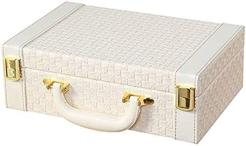 Gymqian Joyero Caja Organizador Showcase Lock Locker Joyería de Cuero Caja de Joyería Hecha a Mano Caja de Alenamiento Rack Jewelery Box Organizador Alta capacidad/Blanco