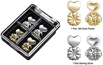Magicbax 2 Pairs Earring Lifters Adjustable Hypoallergenic Gold Silver Hearts(925 Sterling Silver Plated and 18K Gold Plated)