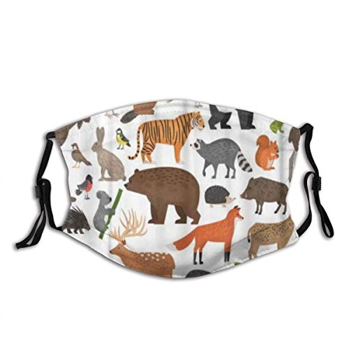 Bufanda Facial Unisex Reusable Nose Face Scarf Wildlife Forest Wild Animals Anteater Badger Bear Beaver Boar Bullfinch Peacocks Mouth Scarf Adjustable Earloops with Replaceable Filter