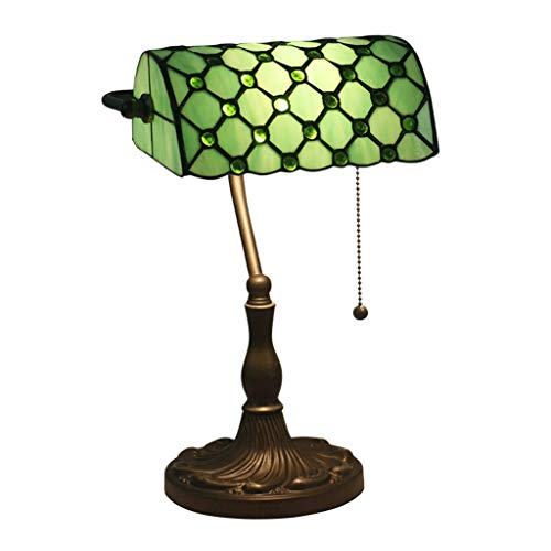 AI LI WEI Banco de Lámpara de Mesa 10 Pulgadas de Vidrio de Color Vintage Metal Base Design Institute Oficina Iluminación Decorativa Luz de Lectura (Color : Green)