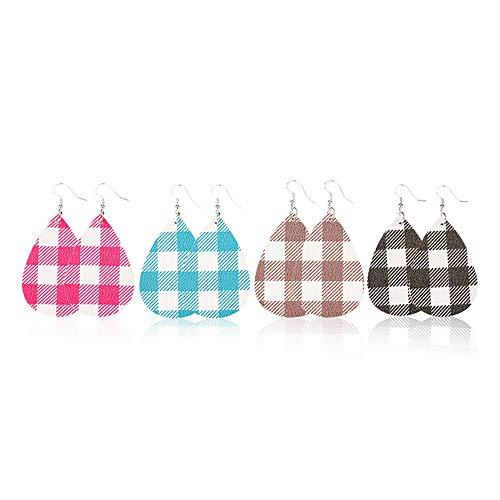 Jia Hu 4 Paar beliebte PU-Ohrringe, Gitter-Ohrringe, doppelseitiges Netz, rotes Gitter-Leder, Ohrringe