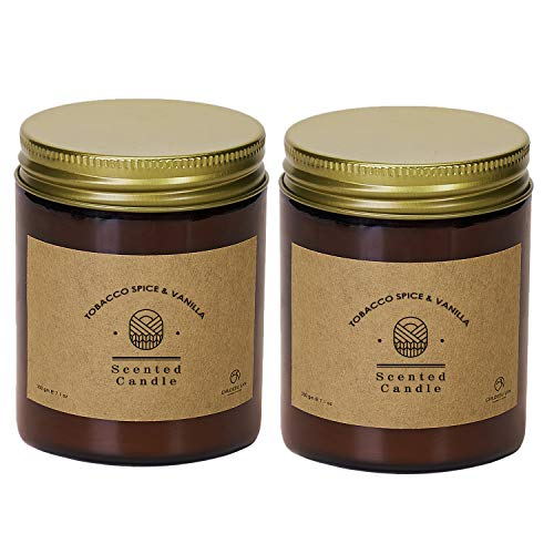 CHLOEFU LAN Tobacco, Spice & Vanilla Scented Candle Sets Luxury Soy Jar Candle 200g 45 Hour Long Lasting Highly Scented Valentines Gifts for Men All-Natural Soy Wax Aromatherapy Candle 2 Pack