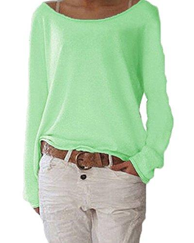 Damen Pulli Langarmshirts T-Shirt Rundhals Ausschnitt Lose Bluse Hemd Pullover Oversize Sweatshirt Oberteil Tops Grün S
