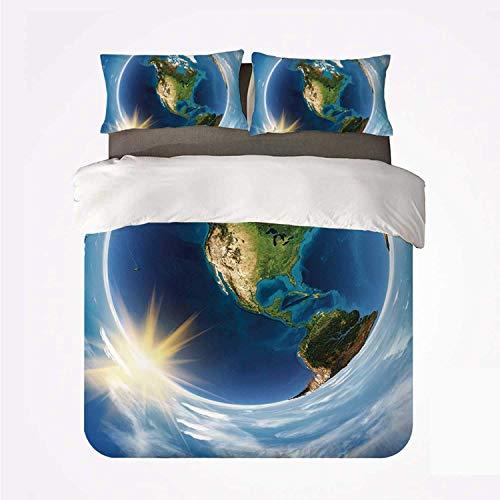Miwaimao Mundo América Paisaje Desde el Espacio Obras de Arte Twirly Clouds Sun Orbit Ecología Geografía,Juego de Ropa de Cama con Funda nórdica de Microfibra y 2 Funda de Almohada - 220 x 240 cm