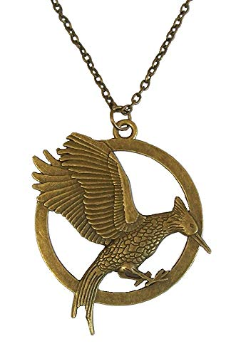 Antique Bronze Movie Inspired Hunger Games Catching Fire Mocking Bird Mockingjay Pendant Necklace Women Men Jewellery