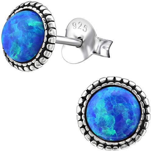 EYS JEWELRY Pendientes para señora círculo redondo 7 x 7 mm Ópalo plata de ley 925 oxidada azul-oscuro con la caja Pendientes mujer