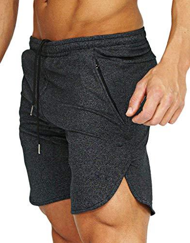 Flyfirefly, pantaloncini da uomo per palestra, fitness, corsa, pantaloni corti aderenti, bodybuilding, con tasche con cerniera Grigio scuro L