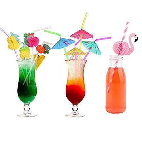Aliyaduo 162 Pieces Party Drinking Straws Umbrella Flamingo Fruit Drinking Straws for Luau Parties,Island Themed Party,Bars,Kitchen Supplies,Restaurants