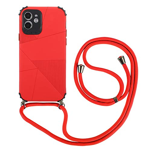 Cadena para teléfono móvil compatible con Apple iPhone 7 Plus/8 Plus, funda de silicona con cadena de protección, suave y flexible, TPU, antigolpes, elegante carcasa para iPhone 7 Plus/8 Plus (rojo)