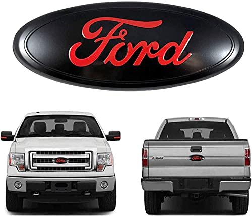 9 inch Front Grille Emblem Tailgate Emblem for Ford, 9'X3.5' Oval Decal Badge Nameplate Fit 2004-2014 F150, 2005-2007 F250 F350, 11-14 Edge, 11-16 Explorer, 06-11 Range (Red)