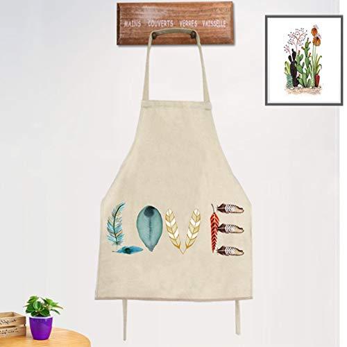 WQYH Erwachsene Baumwolle und Leinen kreative Feder Muster Koch Schürze Kochen/Backen/Küche/Restaurant/Familie/Grill Schürze (F4)