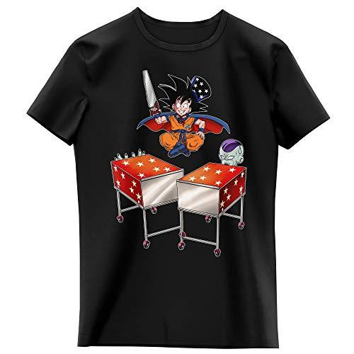 Okiwoki T-Shirt Enfant Fille Noir Parodie Dragon Ball Z - DBZ - Songoku et Freezer - Tour de Magie. : (T-Shirt Enfant de qualité Premium de Taille 13-14 Ans - imprimé en France)