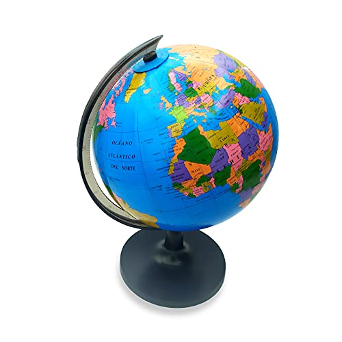 EUROXANTY Globo terráqueo   Globo Mapa Mundi   Mapa en Castellano   Giratorio   Estudiar Geografía   Decoración para escritorio   Diámetro 18 cm
