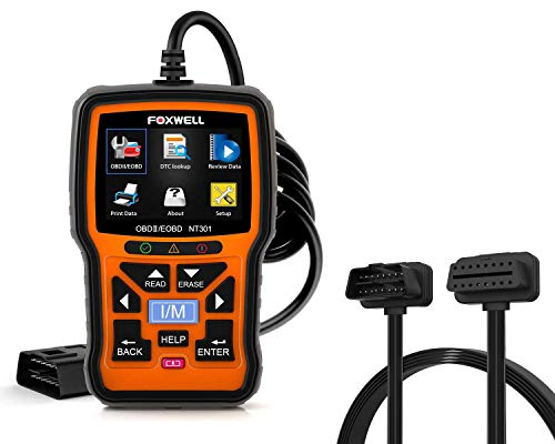 FOXWELL NT301 OBD2 Scanner Professional Mechanic OBDII Diagnostic Code Reader Tool for Check Engine Light with OBD ii 16PIN Cable