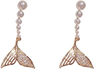 Sponsored Ad - French Style Retro Trendy Pearl Earrings For Women,HOLYCOME Pearl Drop Earrings with Cubic Zirconia, Mermai...