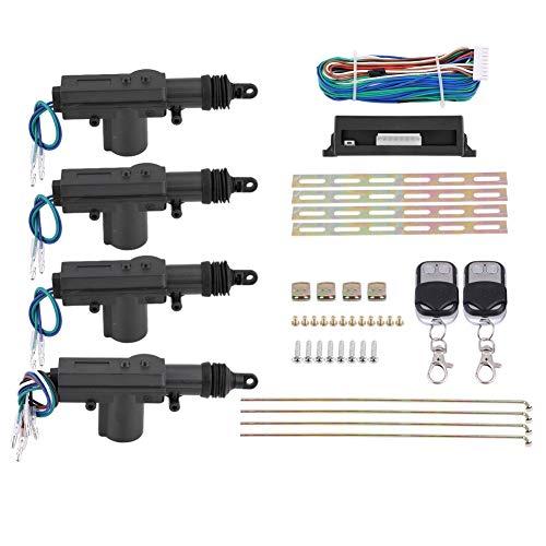 Zentralverriegelung Keyless Entry System, Komplett-Set für Zentralverriegelung 4 Türen (1 Steuerbox, 2 Fernbedienungen, 4 Aktivator, 1 Kabel, 1 Zubehör-Set)
