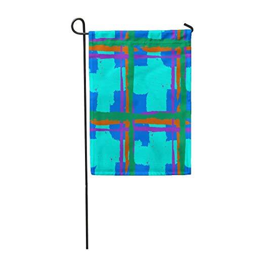 12.5 'x 18' drapeau de jardin motif à carreaux croisement à la main coups de pinceau pour chèque rustique Kilt écossais maison décoration extérieure double face étanche yard drapeaux bannière pour la