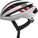 ABUS Aventor Quin Casco de carreras - Casco de bicicleta inteligente con detección de colisión y sistema de alarma SOS - Para hombres y mujeres - Blanco, talla M