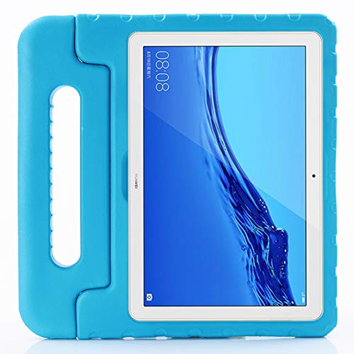 ZiHang Funda Infantil Huawei Mediapad M5 Lite 10.1, Carcasa Niño Antigolpes con Asa Convertible Tapa de Soporte, Funda Bebé Ligera para Huawei Mediapad M5 Lite 10.1 (Azul)