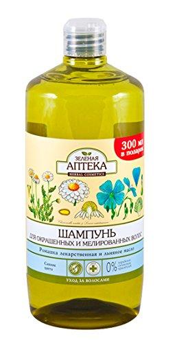 59285 Champú para cabello débil y dañado Manzanilla y aceite de linaza 1000ml Green Pharmacy