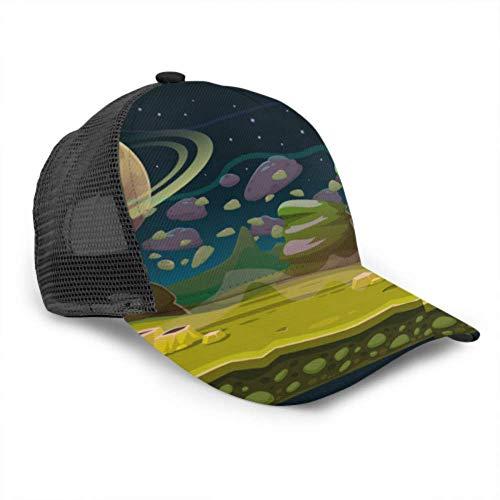 Baseball Cap Männer Frauen, Fantasy Space Nahtlose Spiellandschaft Planet Spiel Vektor verstellbare Trucker Mesh Sommer belüftete Baseball Sun Cap Hut Damen Hut