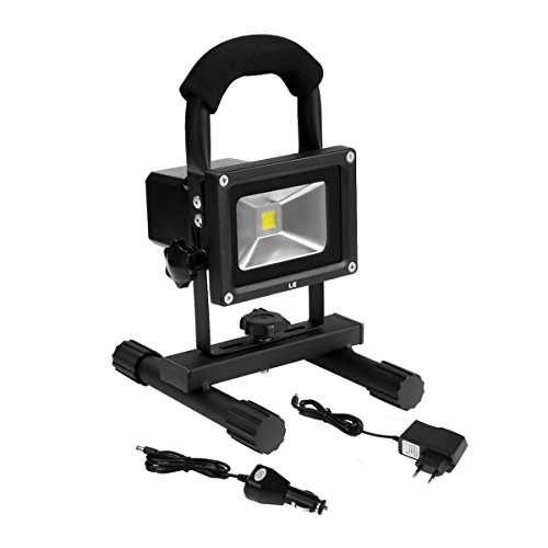 LE 10W LED mobile Arbeitsleuchte, LED Fluter, LED Flutlicht, wiederaufladbar, entspricht einer 100W Halogenlampe, Wasserdicht, 700lm, Tageslichtweiß, LED Flutlicht, LED Außenleuchten, LED Flutlichtstrahler, LED Strahler, LED Scheinwerfer