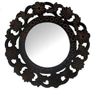 Onlineshoppee Decorative Hand Carved Wood Wall Mirror (27 cm x 2 cm x 27 cm, Black, AFR1883)