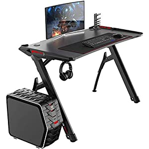 DlandHome Mesa para Juegos Escritorio para computadora de Juegos, Mesa de Juego, con Luces LED, Fibra de Carbono, Gancho…