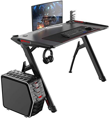DlandHome Scrivania da Gioco Gaming Desk 120 cm PRO Tavolo da Gioco Moderno Ergonomico per Computer con Supporto per Tazza, Luci a LED RGB e Tappetino per Mouse Extra Large, Nero