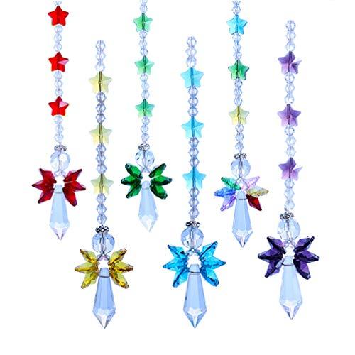 Vosarea 6pcs Ghirlanda di Cristallo Trasparente Ciondolo Stella di Cristallo Appeso Tenda di Perline Wedding Club Decorazione Festa