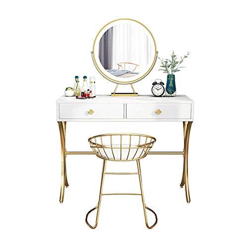 MYAOU Weißer Schminktisch mit 2 Schubladen, Mädchen-Schminktische mit LED-Lichtern Klappspiegel & Gold Metallgepolsterter Hocker Schlafzimmer Make-up-Tisch