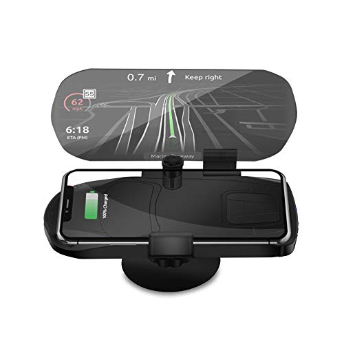 YCKZZR HUD Head Up Display Universal Car Image Reflector Mobile Phone Mount Holder GPS Navigation Windshield Projector Wireless Qi Enabled Charging for All Mobile Phones