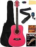 Oscar Schmidt OG5 3/4-Size Kids Acoustic Guitar Learn-to-Play Bundle w/Gig Bag, Tuner, Strap, Picks, Instructional Book, DVD, and Austin Bazaar Polishing Cloth - Pink