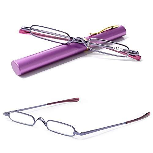 VEVESMUNDO® Lesebrille Damen Herren Federscharnier Metall Schmal Klein Mini Leicht Lesehilfe Sehhilfe Klare Arbeit Brillen Stärke mit Etui (Lila, 1.0)