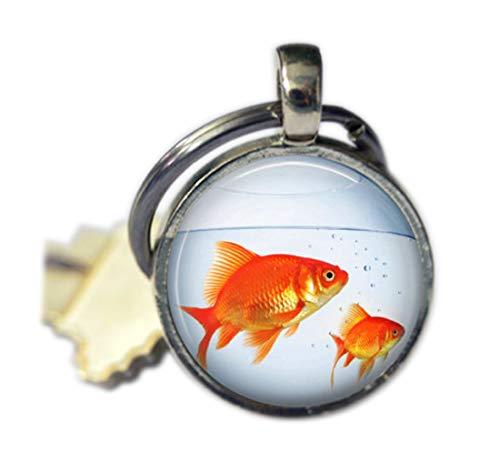 Llavero con diseño de pecera con peces