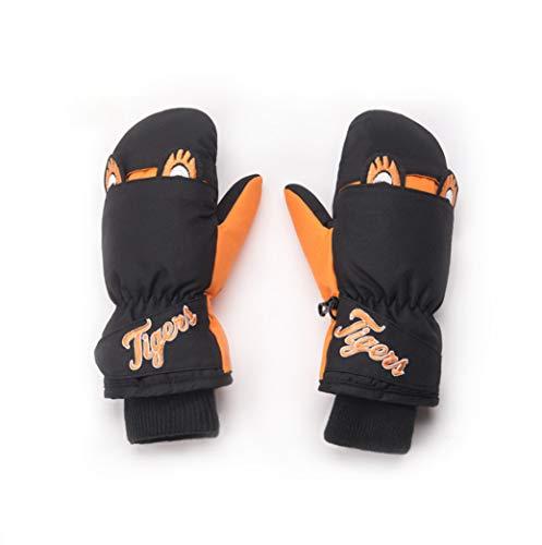 DaDong Kinder Skihandschuh, Jungen und Mädchen wasserdichte Handschuhe, 6-10 Jahre alte Kinder Kaltes Wetter Schnee und Windsicher Winter warme Kinderhand,Orange