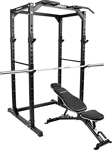 MSPORTS Power Rack Premium Cage - Estación de musculación para jaulas, squat, estación de fitness (Power Rack + banco de pesas + hilo olímpico)