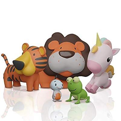 SplashEZ MoldFree Bath Toys for Babies 1M+ and Toddlers , 5 Pack Animal No Holes Bath Toys, Non Squirting Bath Toys for Tub,Beach,Pool, BPA-Free, Dishwasher-Safe, Infant Bathtub Toys from SplashEZ