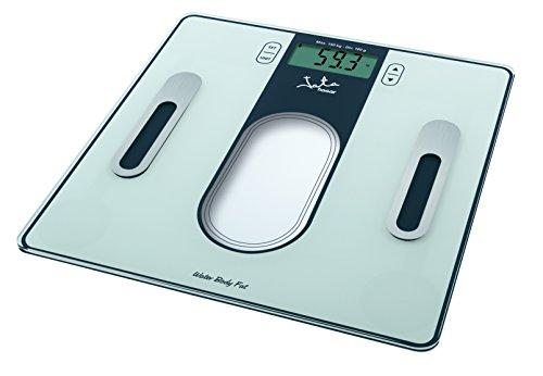 Jata Hogar 534 - Analizador de fitness de grasa y agua con base de cristal de seguridad y visor LCD