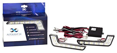 AutoLight24 LED Tagfahrlicht L-Form Curve-Design 12V 8 x SMD LEDs R87 Modul V19