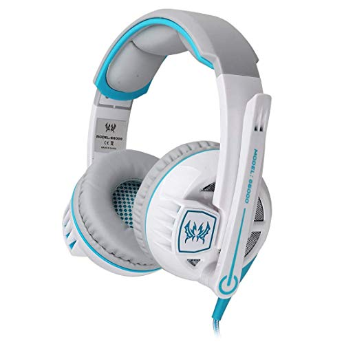 DBSCD Auriculares estéreo para Juegos Auriculares Diadema con Control de Volumen de micrófono Luz LED Deslumbrante para Juego de PC (Color: Blanco)