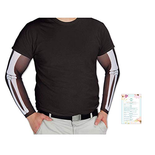 """Beistle Skeleton Party Sleeves Accessory 2 Pieces (with Party Planning Checklist) One Size fits Most 19"""" Long Costume Halloween Party Black, White"""
