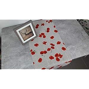 """ASTRA Sommer-Collection Tischläufer """"Mohn"""" beige-rot, Dekostoff, Leinenoptik, pflegeleicht, Blumen- Muster, 132/42 cm"""