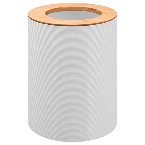 bremermann Kosmetikeimer Segno aus Bambus und Kunststoff // Abfalleimer // Mülleimer 5,5 Liter (Weiß)