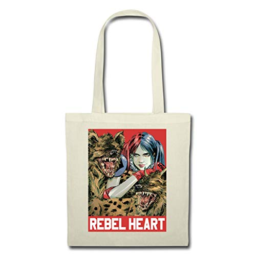 Spreadshirt Harley Quinn Rebel Heart Stoffbeutel, Natur