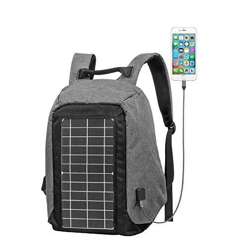 WJH Mochila antirrobo para computadora portátil con Paneles solares, Mochila de Oficina de Negocios Impermeable y de Gran Capacidad con Interfaz USB, Bolsa de Estudiante Casual para Hombres y Mujeres