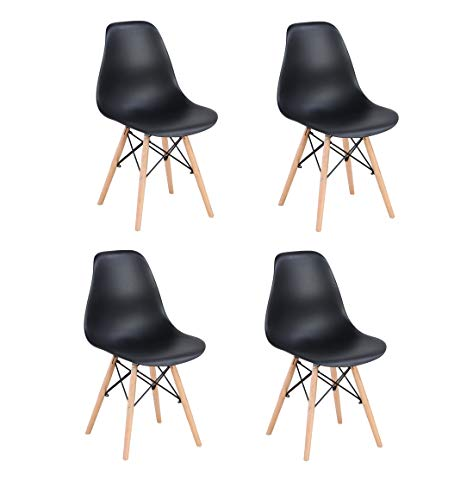 N/A Conjunto de Cuatro sillas de Comedor, Silla de plástico Patas de Metal, Muebles de Oficina Modernos e Informales (Negro)